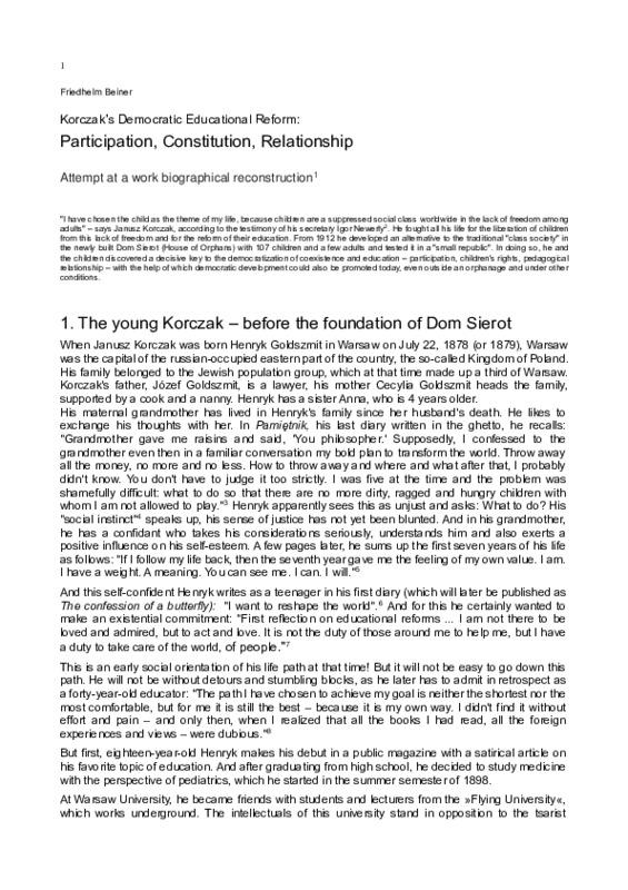 <br /> Korczak's Democratic Educational Reform: Participation, Constitution, Relationship. Attempt at a work biographical reconstruction<br />