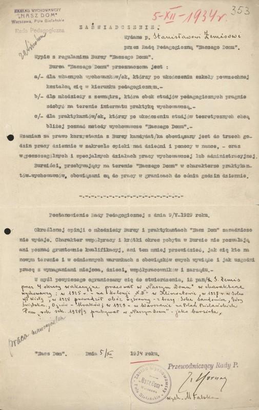 The certificate for Stanisław Żemis