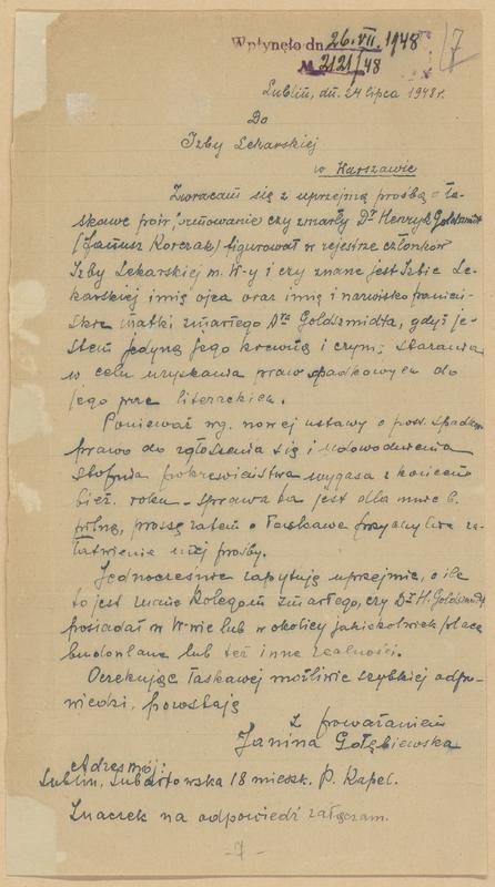 [Letter from Janina Gołębiewska]