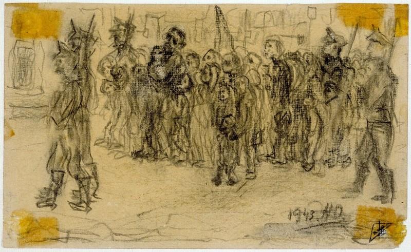 'Le dernier chemin Korczak et les enfants pendant l'expulsion'
